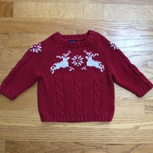 Lands' End Red Cable Knit Reindeer Sweater
